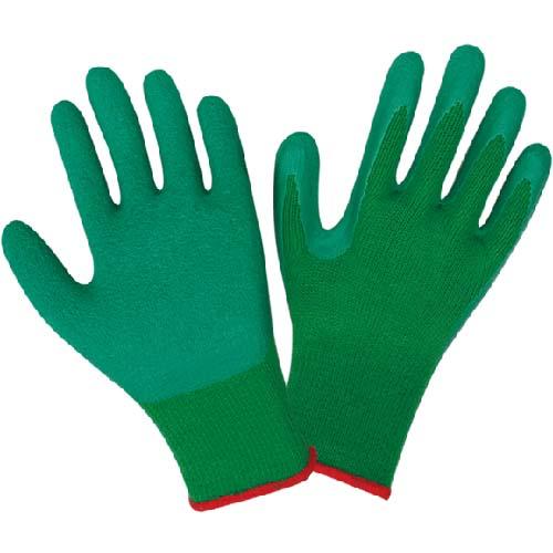 十针乳胶防滑手套 绿纱绿胶