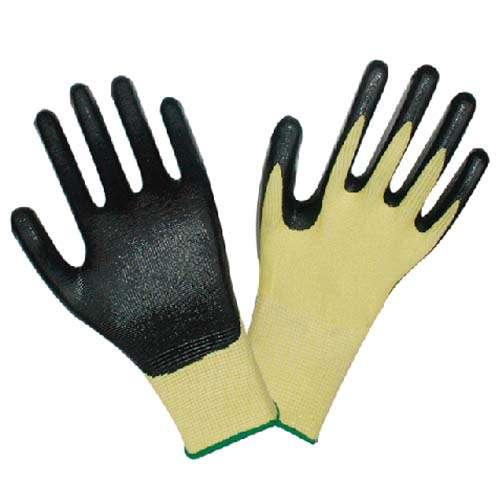 13针丁腈浸胶手套 黄纱黑胶