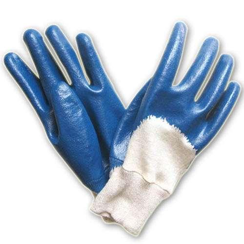 针织袖口棉毛布丁腈手套 半浸胶