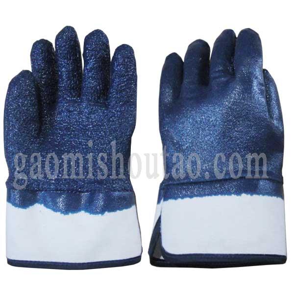 防滑绒布蓝丁腈手套