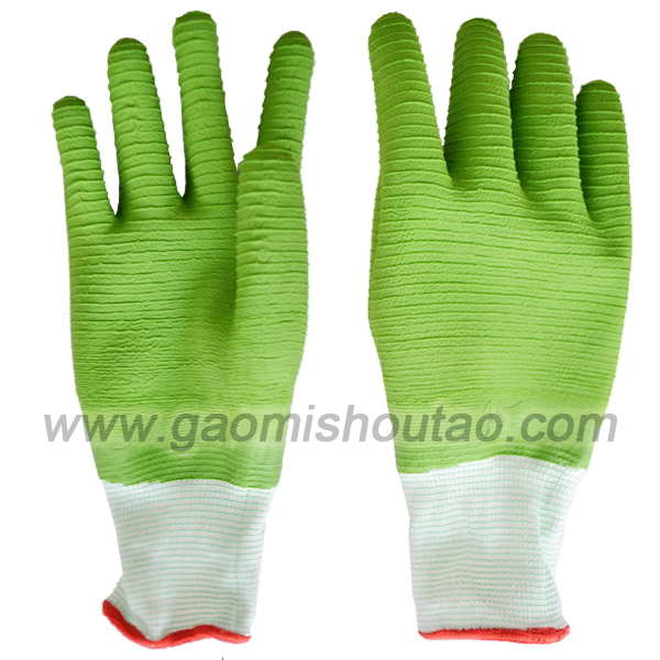 13针尼龙乳胶全浸细纹手套 绿色